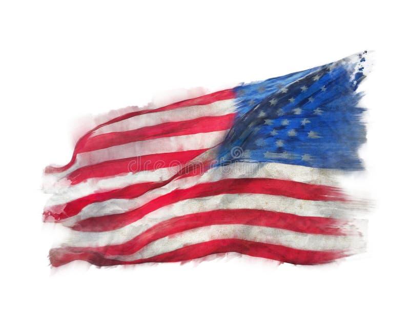 Bandiera dell'acquerello dell'America illustrazione vettoriale