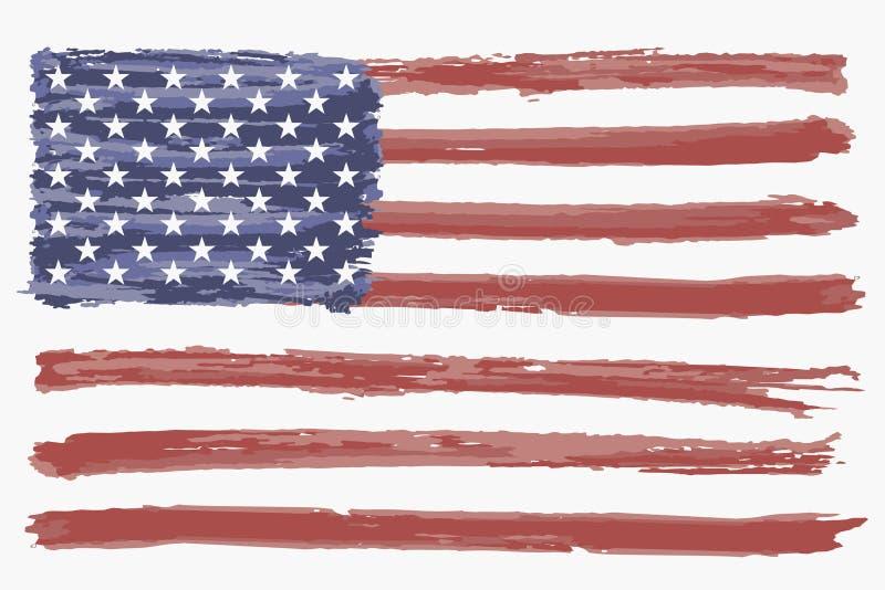 Bandiera dell'acquerello di U.S.A. Bandiera americana di lerciume, fondo Vettore illustrazione vettoriale