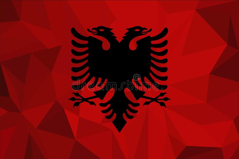 Bandiera dell'Albania su un fondo strutturato del tessuto Illustrazione di vettore royalty illustrazione gratis