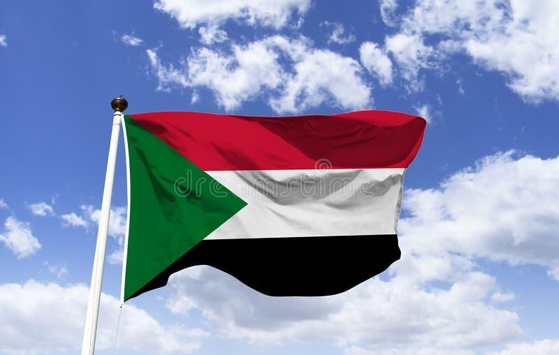 Bandiera dell'Angola, fluttuante sotto il cielo blu royalty illustrazione gratis