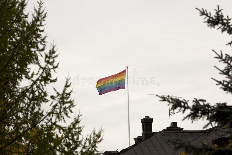Bandiera dell'arcobaleno che ondeggia nel vento sul tetto immagini stock libere da diritti