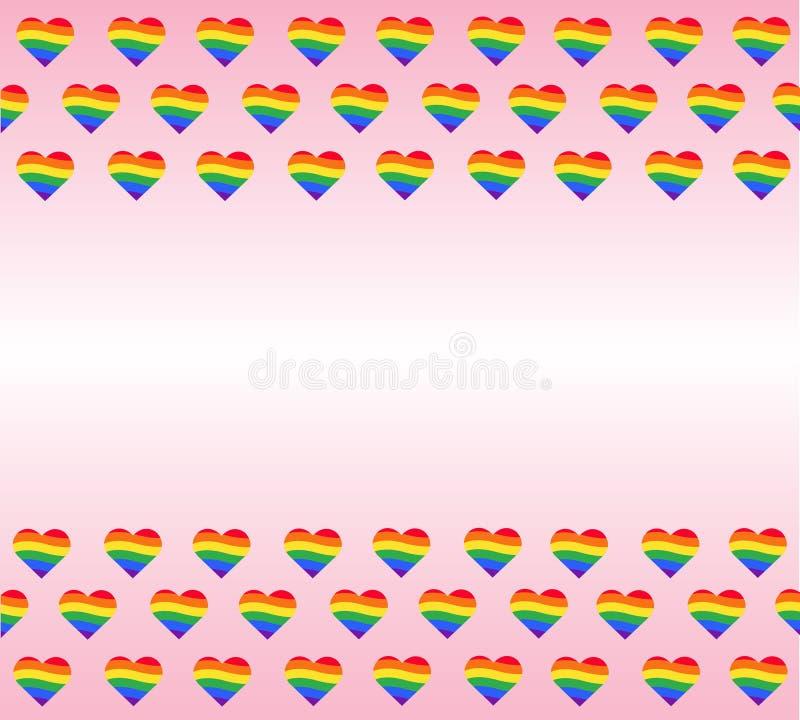 Bandiera dell'arcobaleno Segno di gay pride di LGBT vettore e fondo del cuore dell'arcobaleno royalty illustrazione gratis