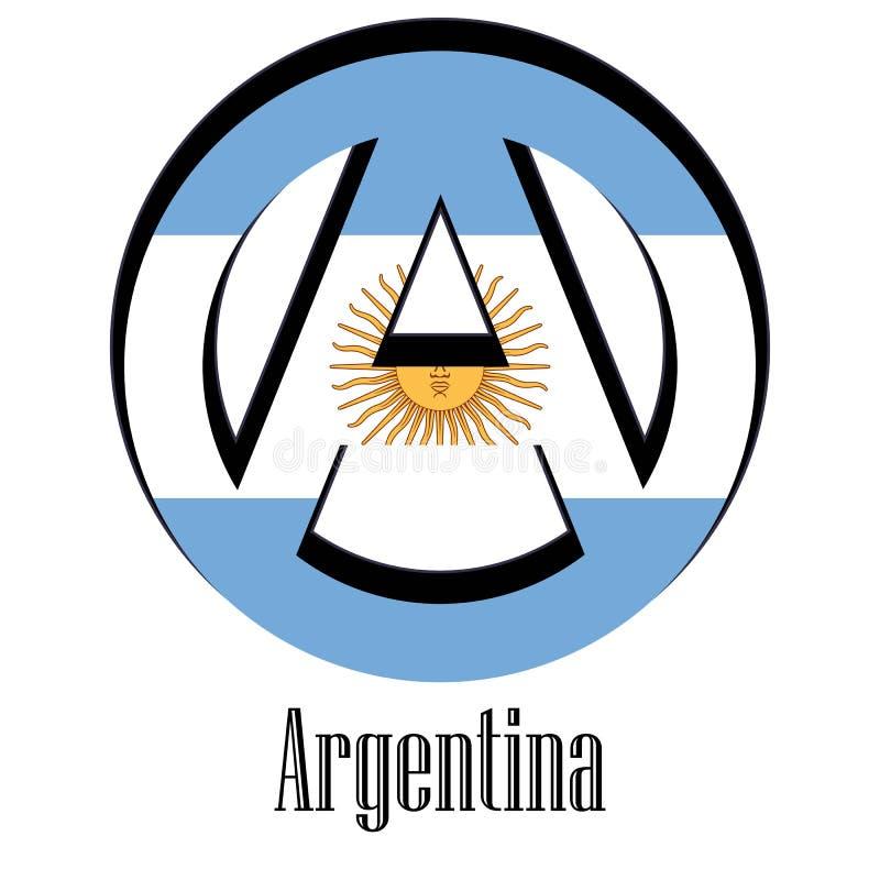 Bandiera dell'Argentina del mondo sotto forma di segno dell'anarchia illustrazione vettoriale