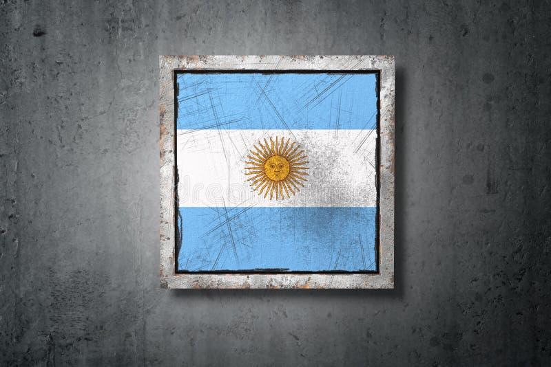 Bandiera dell'Argentina in muro di cemento illustrazione vettoriale