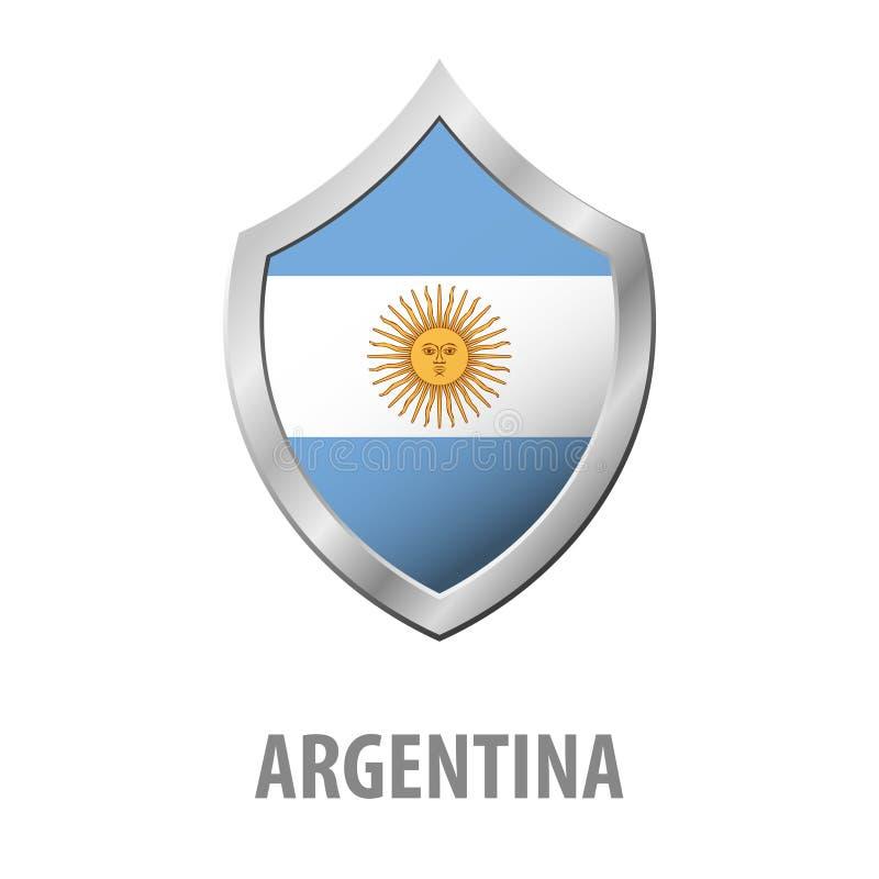 Bandiera dell'Argentina sull'illustrazione brillante dello schermo del metallo royalty illustrazione gratis