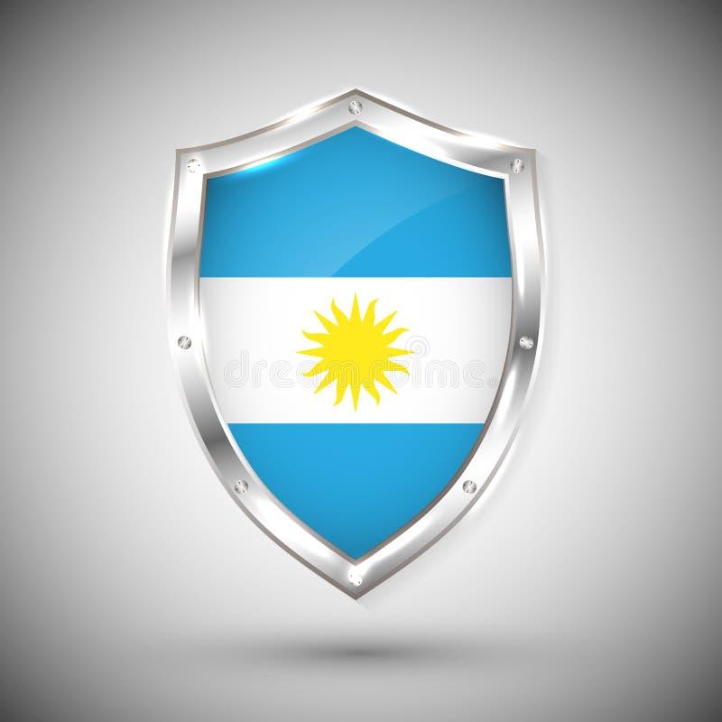 Bandiera dell'Argentina sull'illustrazione brillante di vettore dello schermo del metallo Raccolta delle bandiere sullo schermo c illustrazione vettoriale