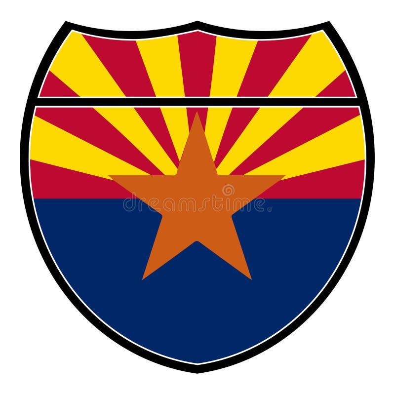 Bandiera dell'Arizona in un segno da uno stato all'altro illustrazione vettoriale