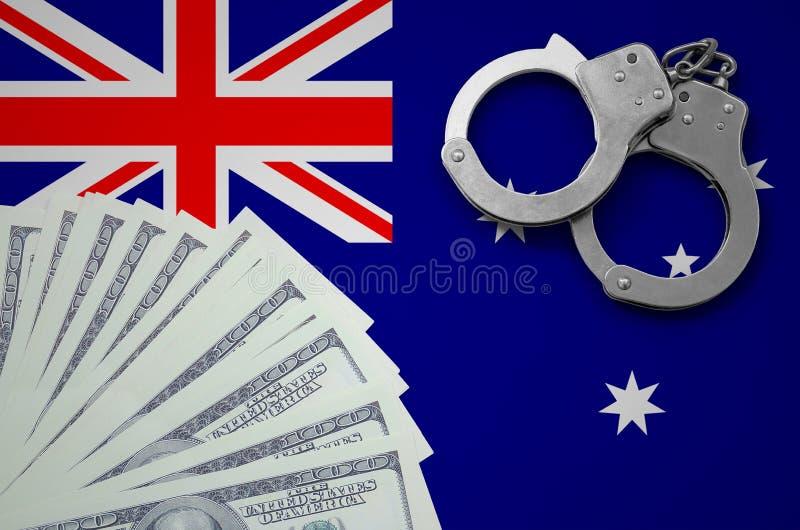 Bandiera dell'Australia con le manette e un pacco dei dollari Il concetto delle operazioni bancarie illegali nella valuta degli S royalty illustrazione gratis