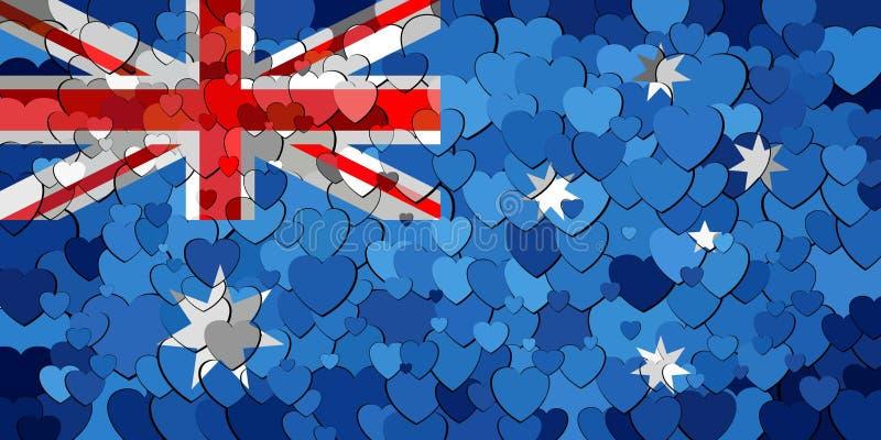 Bandiera dell'Australia fatta del fondo dei cuori royalty illustrazione gratis