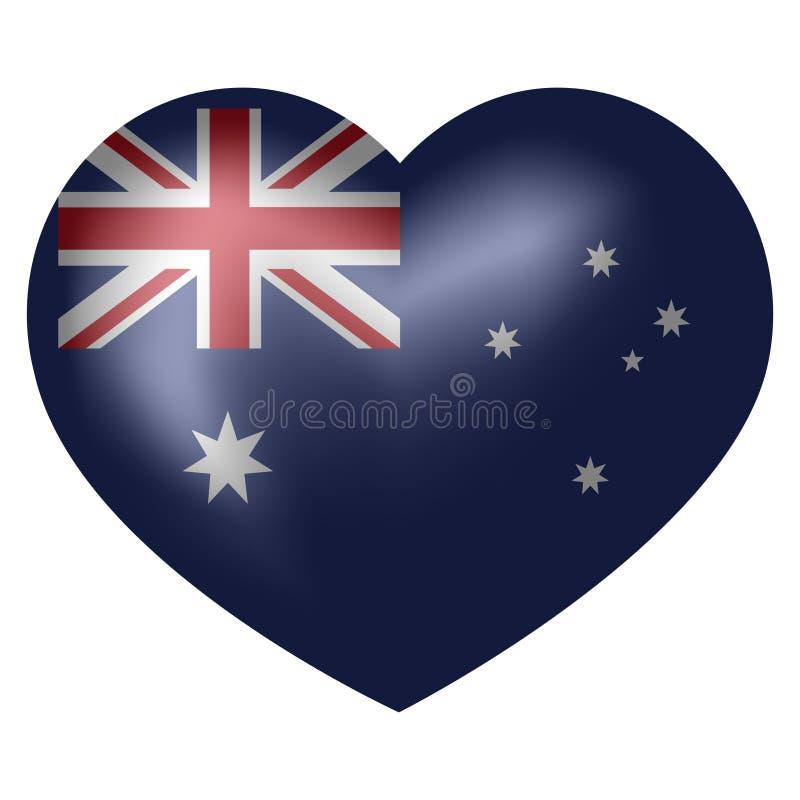 Bandiera dell'Australia nella forma del cuore Illustrazione di vettore illustrazione vettoriale