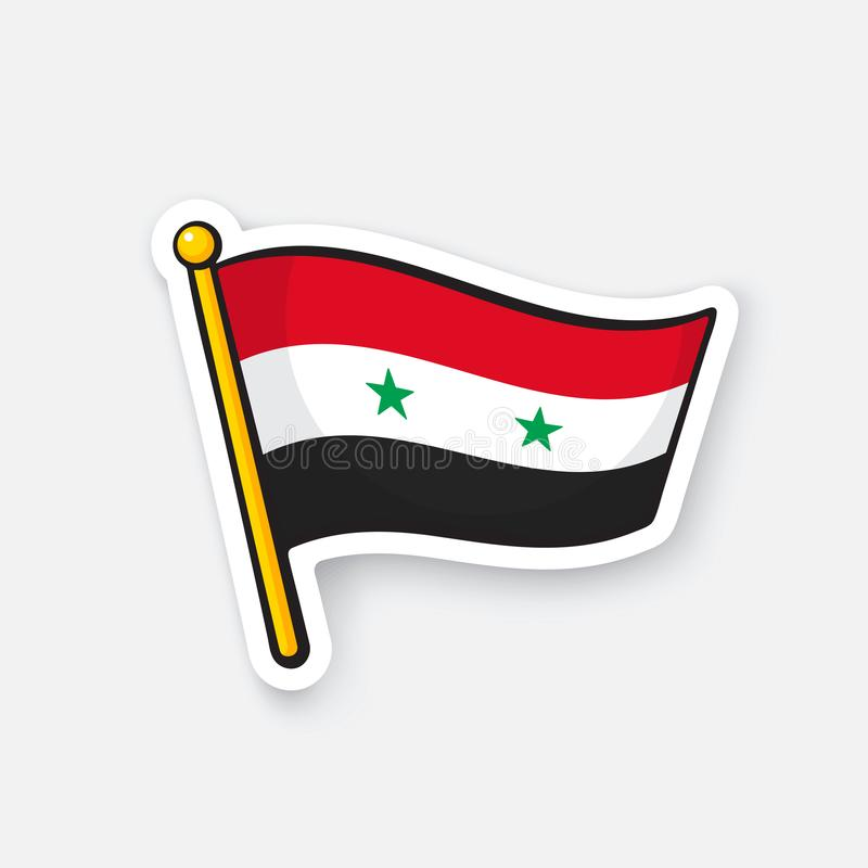 Bandiera dell'autoadesivo della Siria sull'albero per bandiera illustrazione di stock