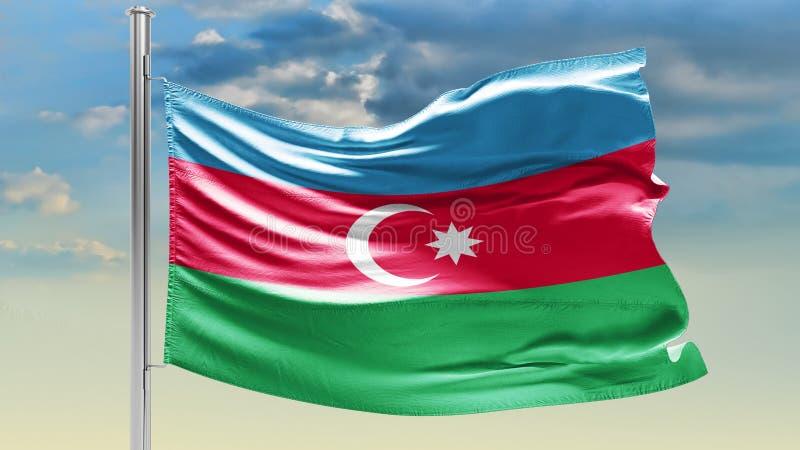 Bandiera dell'Azerbaigian sul cielo nuvoloso patriotism immagine stock