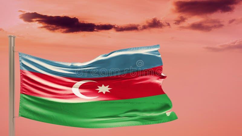 Bandiera dell'Azerbaigian sul cielo nuvoloso patriotism fotografia stock libera da diritti