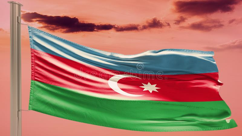 Bandiera dell'Azerbaigian sul cielo nuvoloso patriotism fotografie stock libere da diritti
