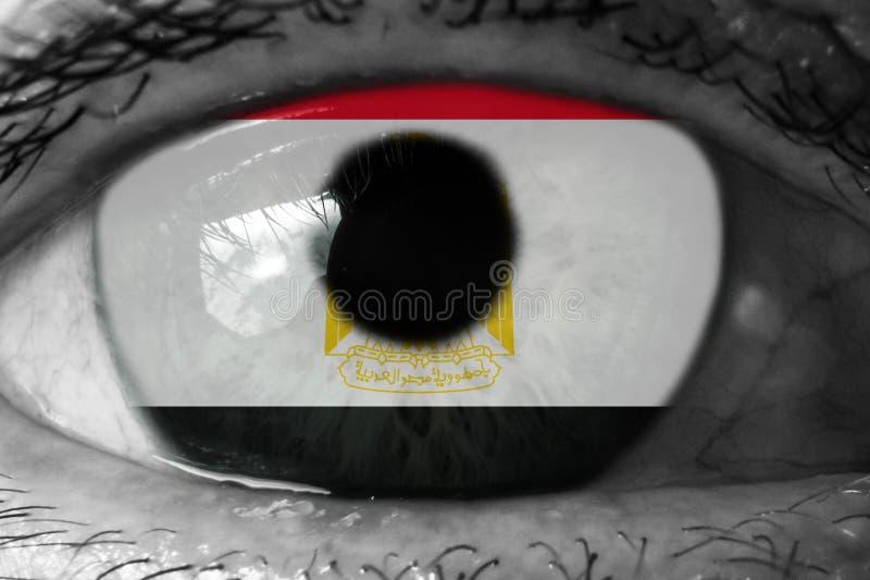 Bandiera dell'Egitto nell'occhio fotografia stock libera da diritti