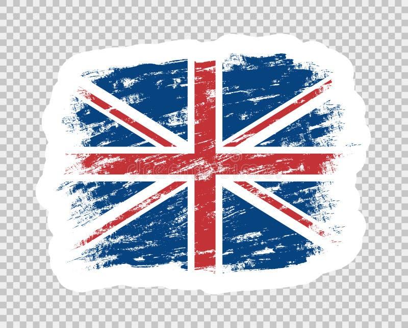 Bandiera dell'estratto di colore della Gran-Bretagna Spazzola BRITANNICA di lerciume autoadesivo del modello Oggetto isolato su u illustrazione vettoriale