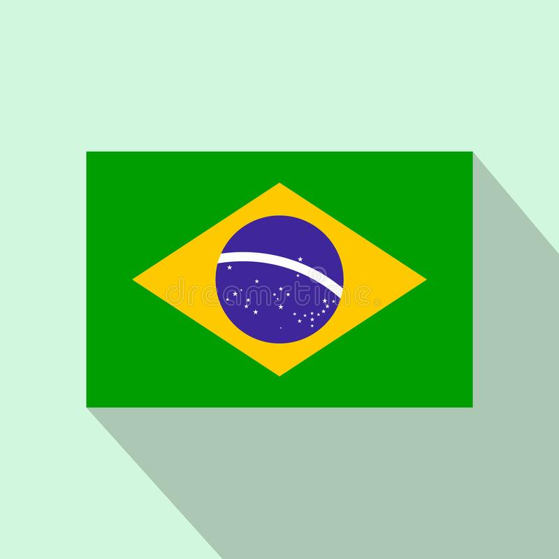 Bandiera dell'icona del Brasile, stile piano illustrazione di stock