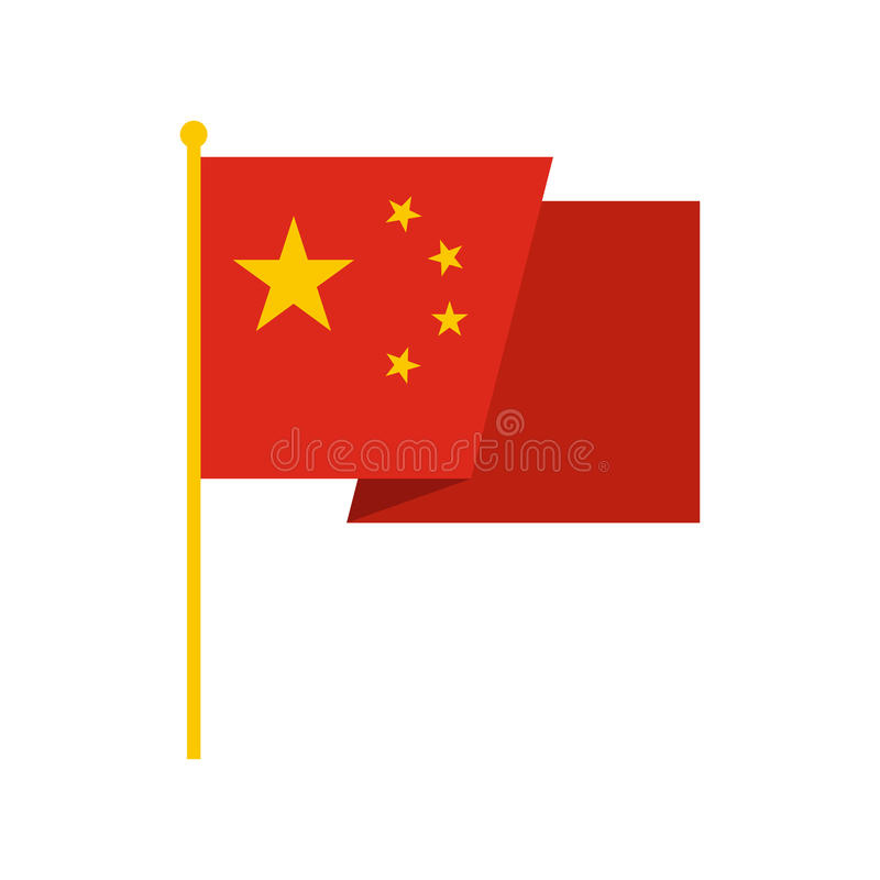 Bandiera dell'icona della Cina, stile piano illustrazione di stock