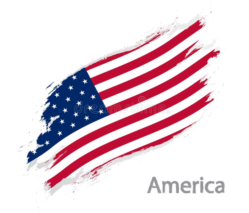 Bandiera dell'illustrazione di vettore di stile di lerciume dell'America isolata su bianco royalty illustrazione gratis