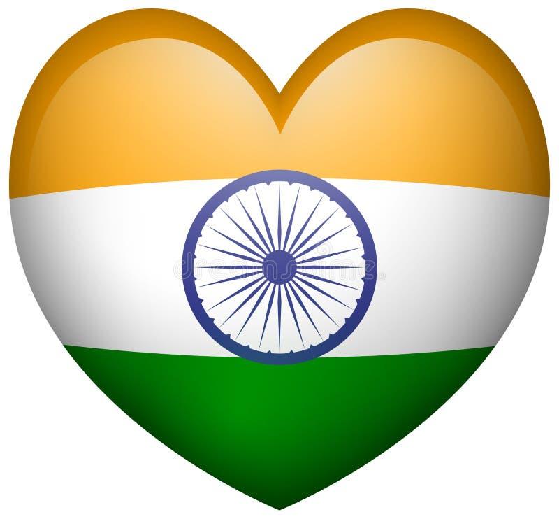 Bandiera dell'India nell'icona di forma del cuore royalty illustrazione gratis
