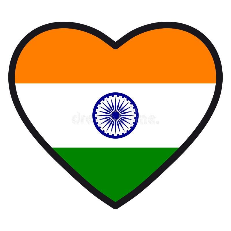Bandiera dell'India sotto forma di cuore con il contorno di contrapposizione, sy royalty illustrazione gratis