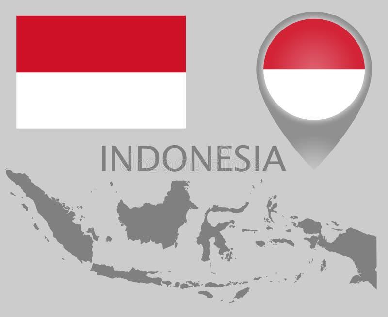 Bandiera dell'Indonesia, mappa in bianco e puntatore della mappa illustrazione vettoriale
