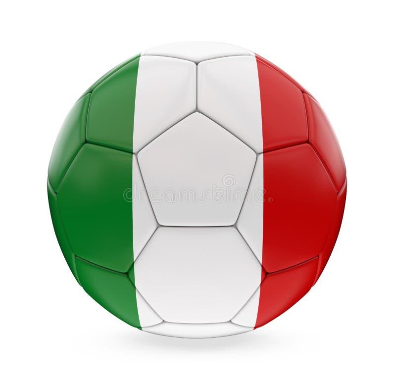 Bandiera dell'Italia del pallone da calcio isolata illustrazione di stock
