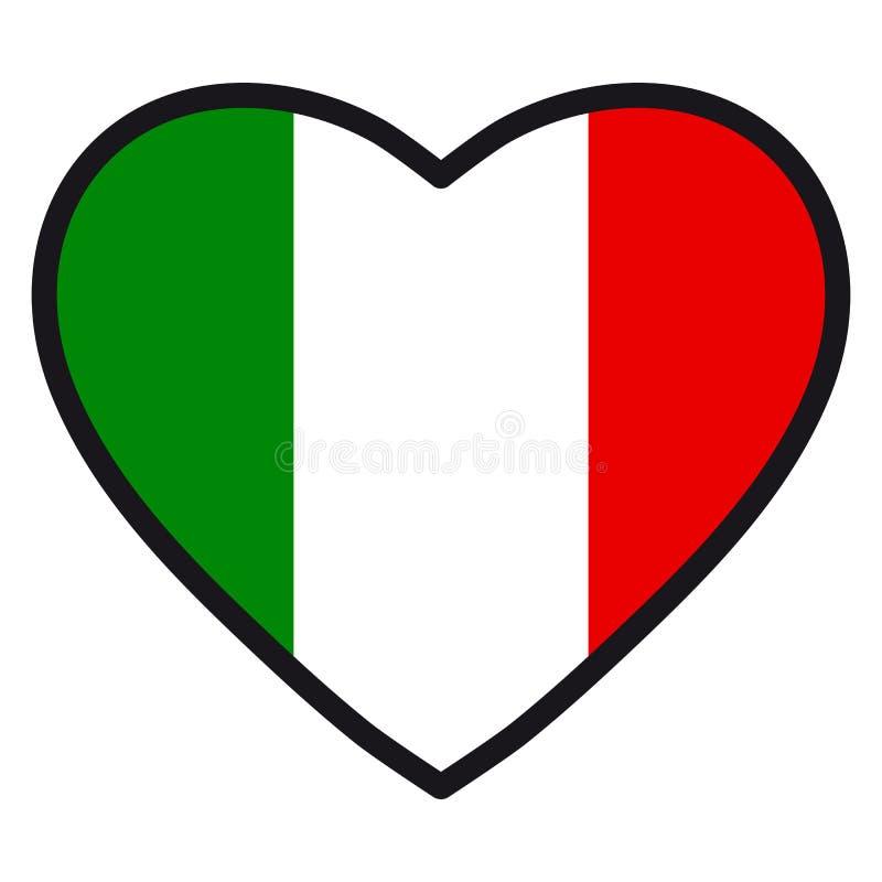 Bandiera dell'Italia sotto forma di cuore con il contorno di contrapposizione, sy illustrazione vettoriale