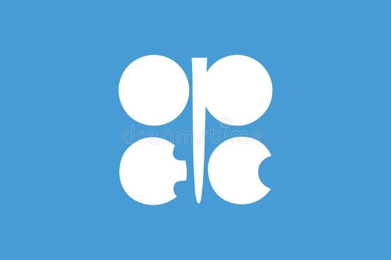 Bandiera dell'organizzazione dell'OPEC della bandiera esportatrice di petrolio dei paesi OPEC illustrazione di stock