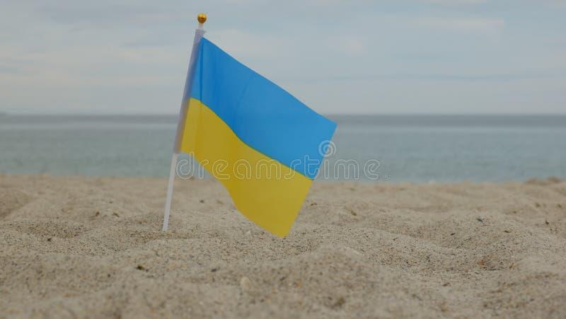 Bandiera dell'Ucraina, stante nella sabbia, contro lo sfondo del mare fotografie stock libere da diritti