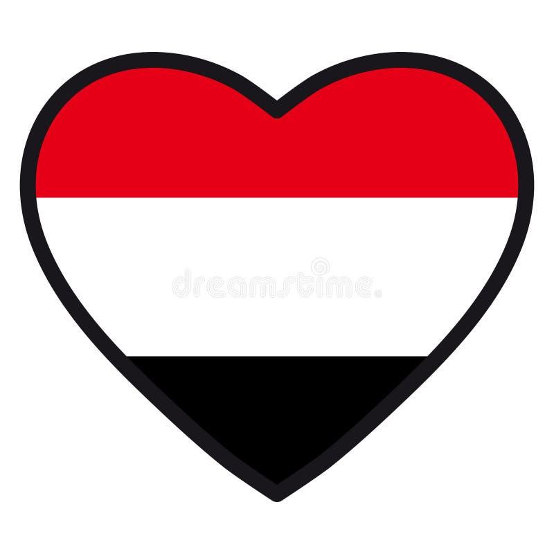 Bandiera dell'Yemen sotto forma di cuore con il contorno di contrapposizione, sy royalty illustrazione gratis