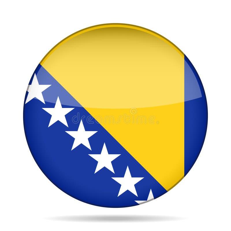 Bandiera della Bosnia-Erzegovina, bottone rotondo brillante illustrazione vettoriale