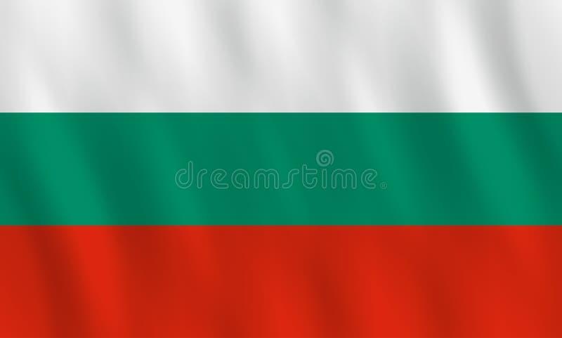 Bandiera della Bulgaria con effetto d'ondeggiamento, proporzione ufficiale illustrazione di stock
