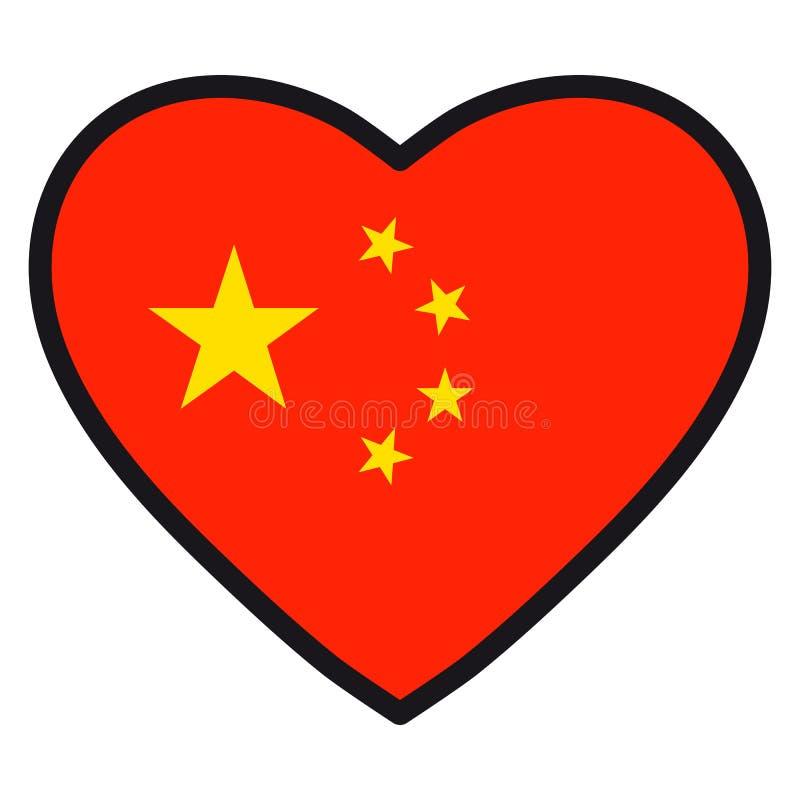 Bandiera della Cina sotto forma di cuore con il contorno di contrapposizione, sy illustrazione di stock