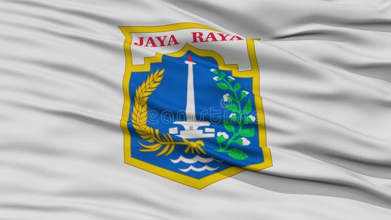Bandiera della città di Jakarta del primo piano, Indonesia illustrazione di stock