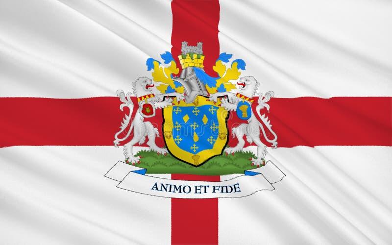Bandiera della città metropolitana della città di Stockport, Inghilterra fotografia stock libera da diritti