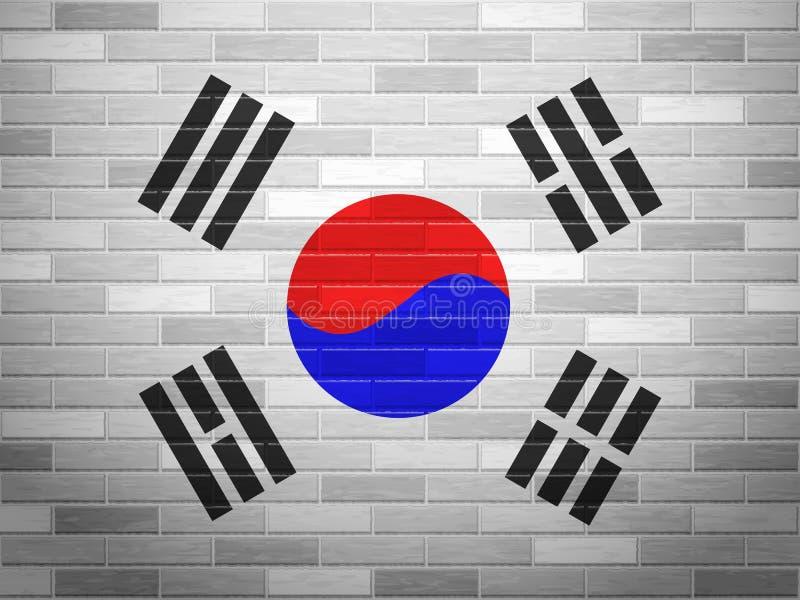 Bandiera della Corea del Sud del muro di mattoni illustrazione vettoriale