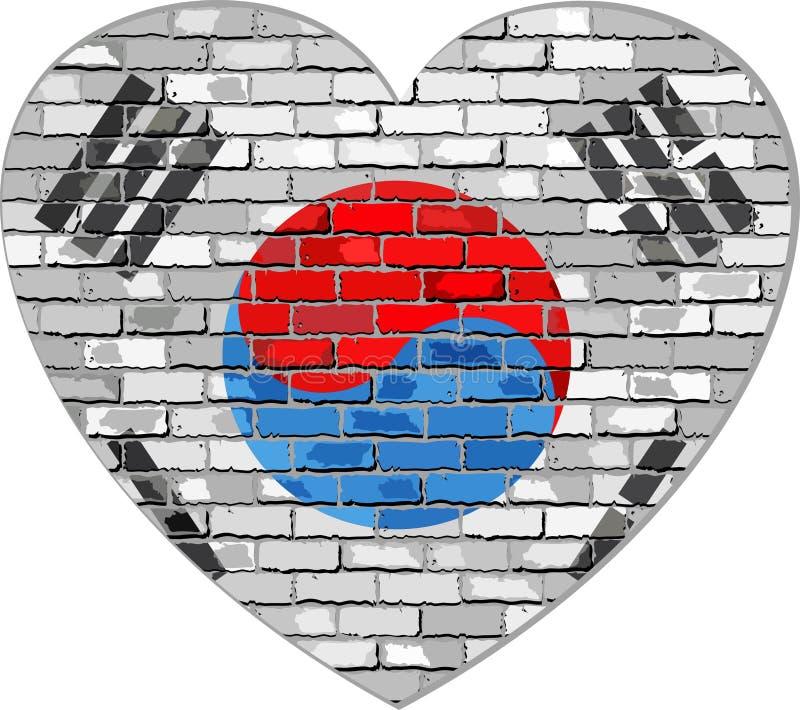 Bandiera della Corea del Sud su un muro di mattoni nella forma del cuore royalty illustrazione gratis