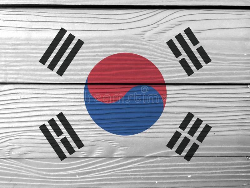 Bandiera della Corea del Sud sul fondo di legno della parete  fotografie stock libere da diritti