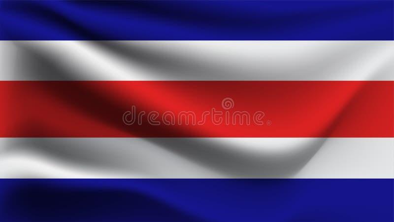 Bandiera della Costa Rica che ondeggia con la bandiera dell'onda dell'illustrazione del vento 3D royalty illustrazione gratis