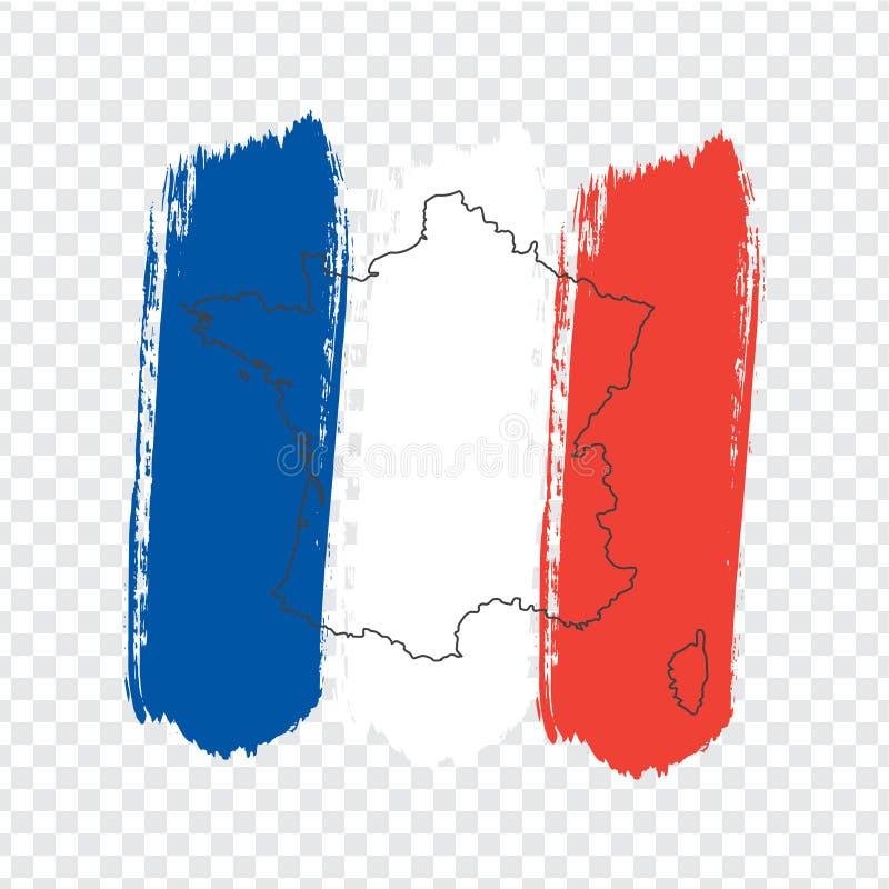 Bandiera della Francia dai colpi della spazzola e dalla mappa in bianco Francia Mappa di alta qualità della Francia su fondo tras royalty illustrazione gratis