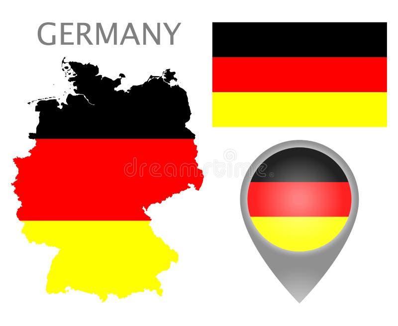 Bandiera della Germania, mappa e puntatore della mappa illustrazione vettoriale