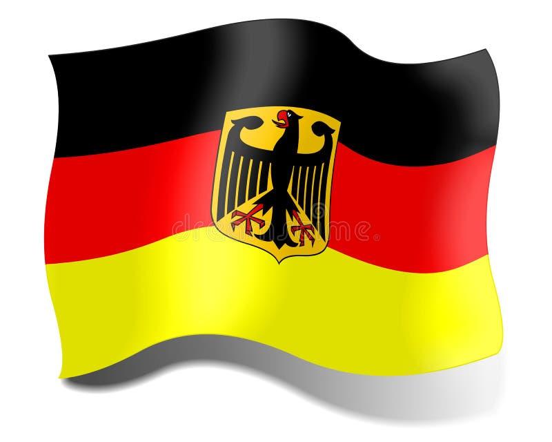 Bandiera della Germania su un fondo bianco illustrazione vettoriale