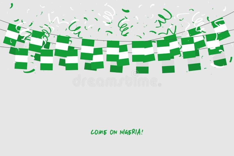 Bandiera della ghirlanda della Nigeria con i coriandoli su fondo grigio, stamina di caduta per l'insegna del modello di celebrazi royalty illustrazione gratis