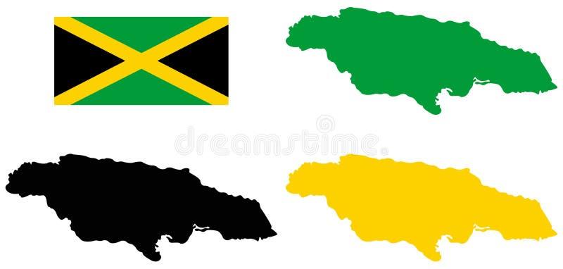 Bandiera della Giamaica e mappa - paese di isola situato nel mar dei Caraibi illustrazione di stock