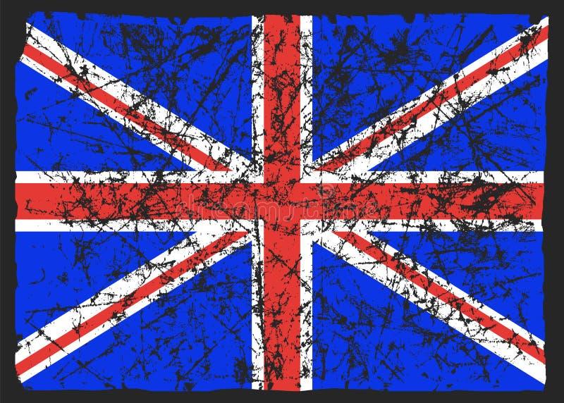Bandiera della Gran Bretagna, estratto Bandiera BRITANNICA in lerciume L'effetto di scalfisce, usura, danno, vecchio Illustrazion immagini stock libere da diritti