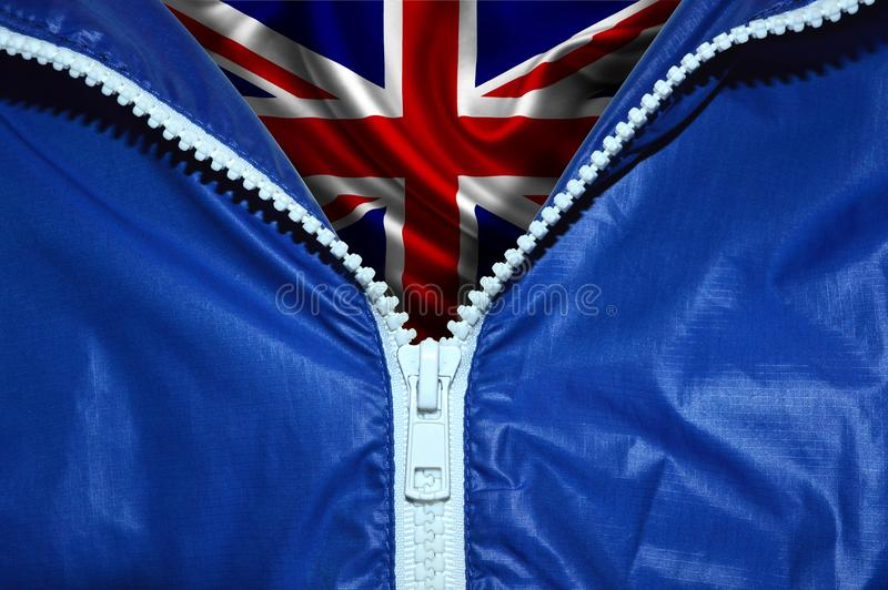 Bandiera della Gran Bretagna sotto la chiusura lampo non imballata fotografia stock libera da diritti