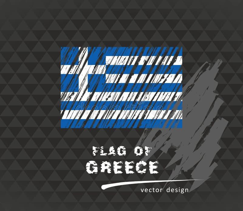 Bandiera della Grecia, illustrazione disegnata a mano di schizzo di vettore sul backgroud scuro di lerciume royalty illustrazione gratis