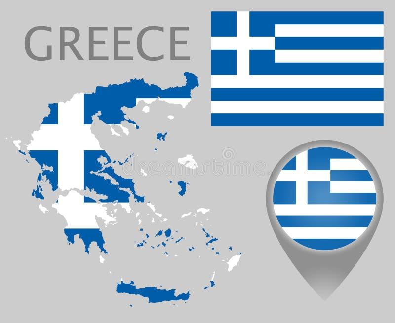 Bandiera della Grecia, mappa e puntatore della mappa illustrazione vettoriale
