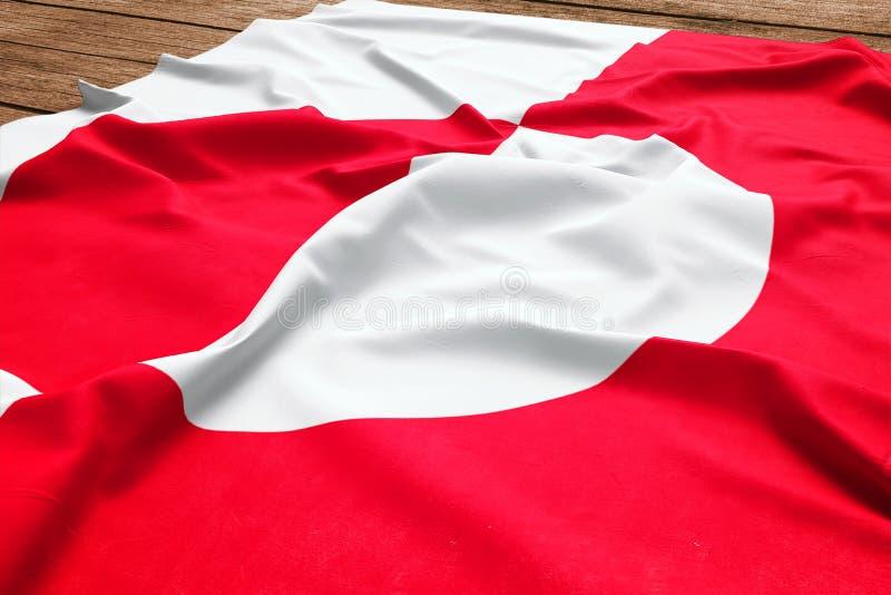 Bandiera della Groenlandia su un fondo di legno dello scrittorio Vista superiore della bandiera di seta fotografie stock
